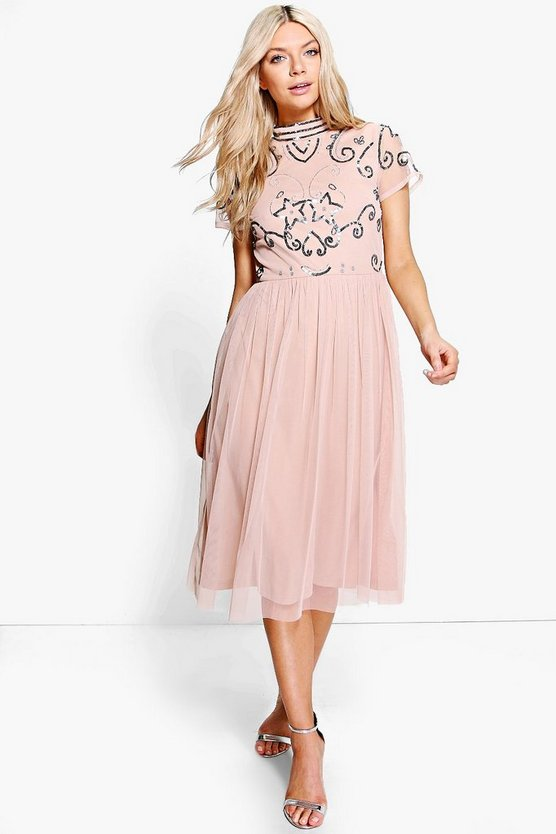 Boutique Embellished Midi Dress