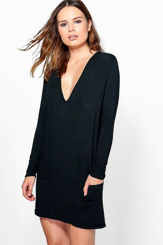 Alice V Neck Pocket Front Shift Dress