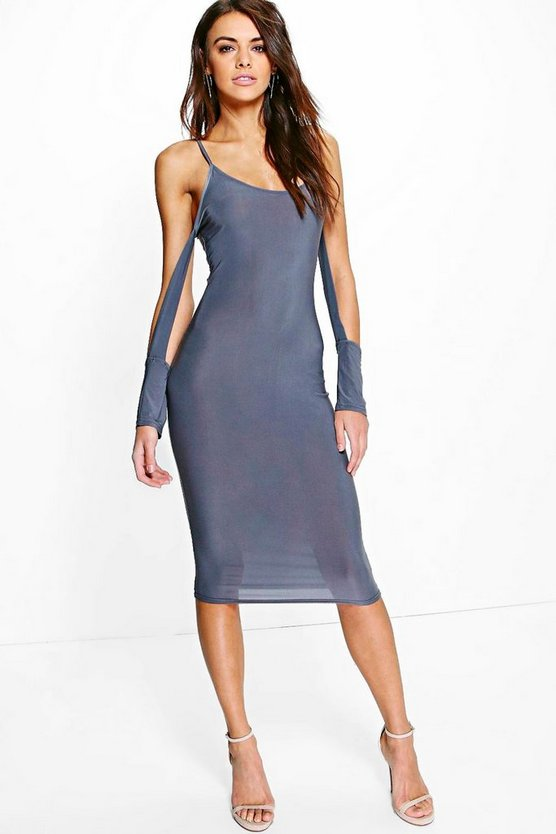 Jaclyn Slinky Open Sleeve Detail Midi Dress