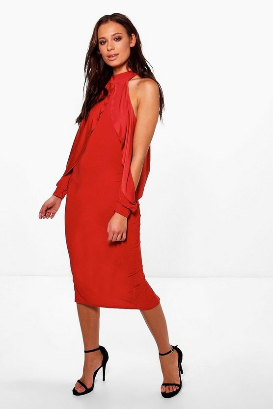 Ayla Slinky Open Shoulder Midi Bodycon Dress