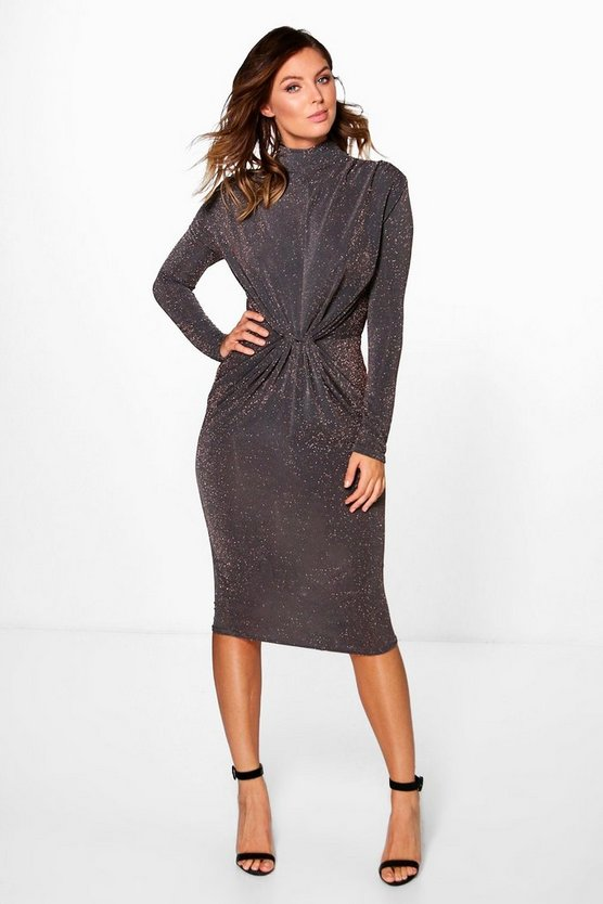 Marissa Metallic High Neck Midi Dress