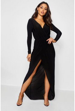 Womens Black Slinky Wrap Top Maxi Dress