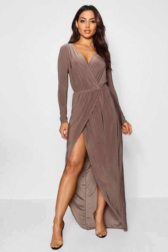 Womens Mocha Slinky Wrap Top Maxi Dress