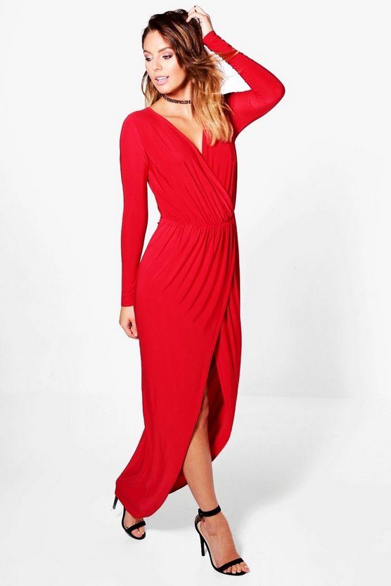 Womens Red Slinky Wrap Top Maxi Dress