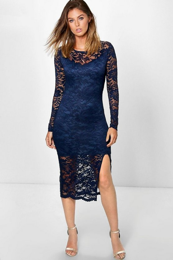 Andi Long Sleeve Lace Split Midi Dress