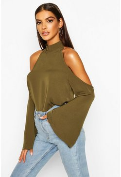 Womens Khaki Cold Shoulder Flute Sleeve Turtle Neck Top