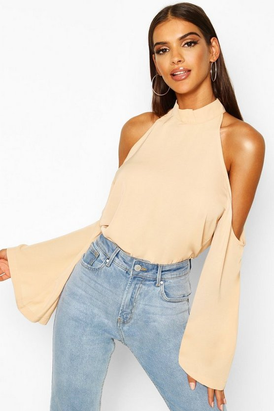 Womens Nude Cold Shoulder Flute Sleeve Turtle Neck Top