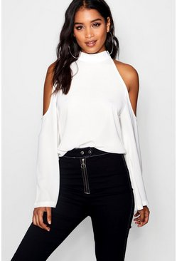 Womens White Cold Shoulder Flute Sleeve Turtle Neck Top