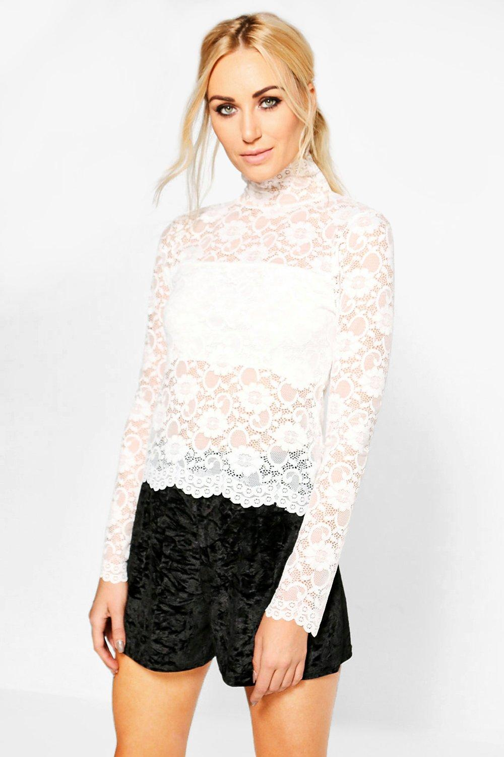 296347eadf7e7 ... Lace High Neck Top. Hover to zoom