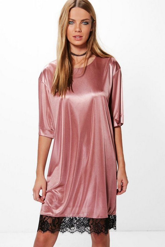 Louisa Satin Look Slinky Shift Dress