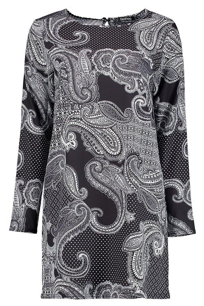 Sophia Paisley Print Long Sleeve Shift Dress