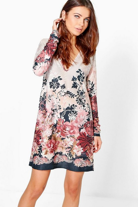 Agne Floral Long Sleeved Shift Dress