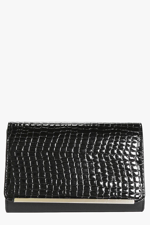 6693b4b50 Isla Mock Croc Metal Trim Clutch Bag | Boohoo