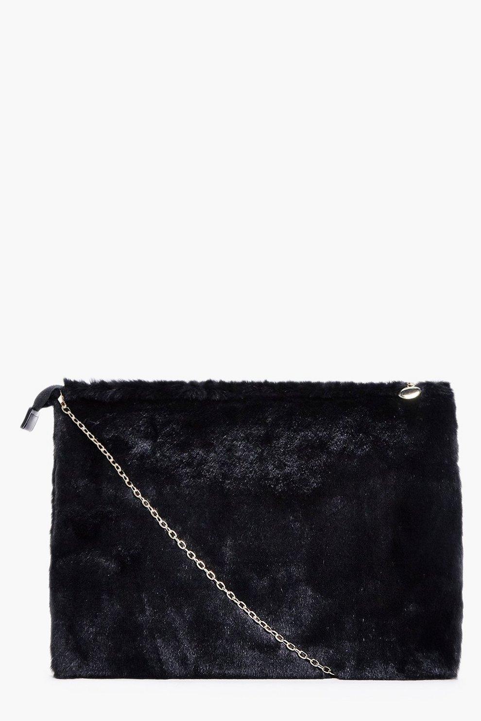 8cc1da566e Poppy Zip Top Faux Fur Clutch Bag