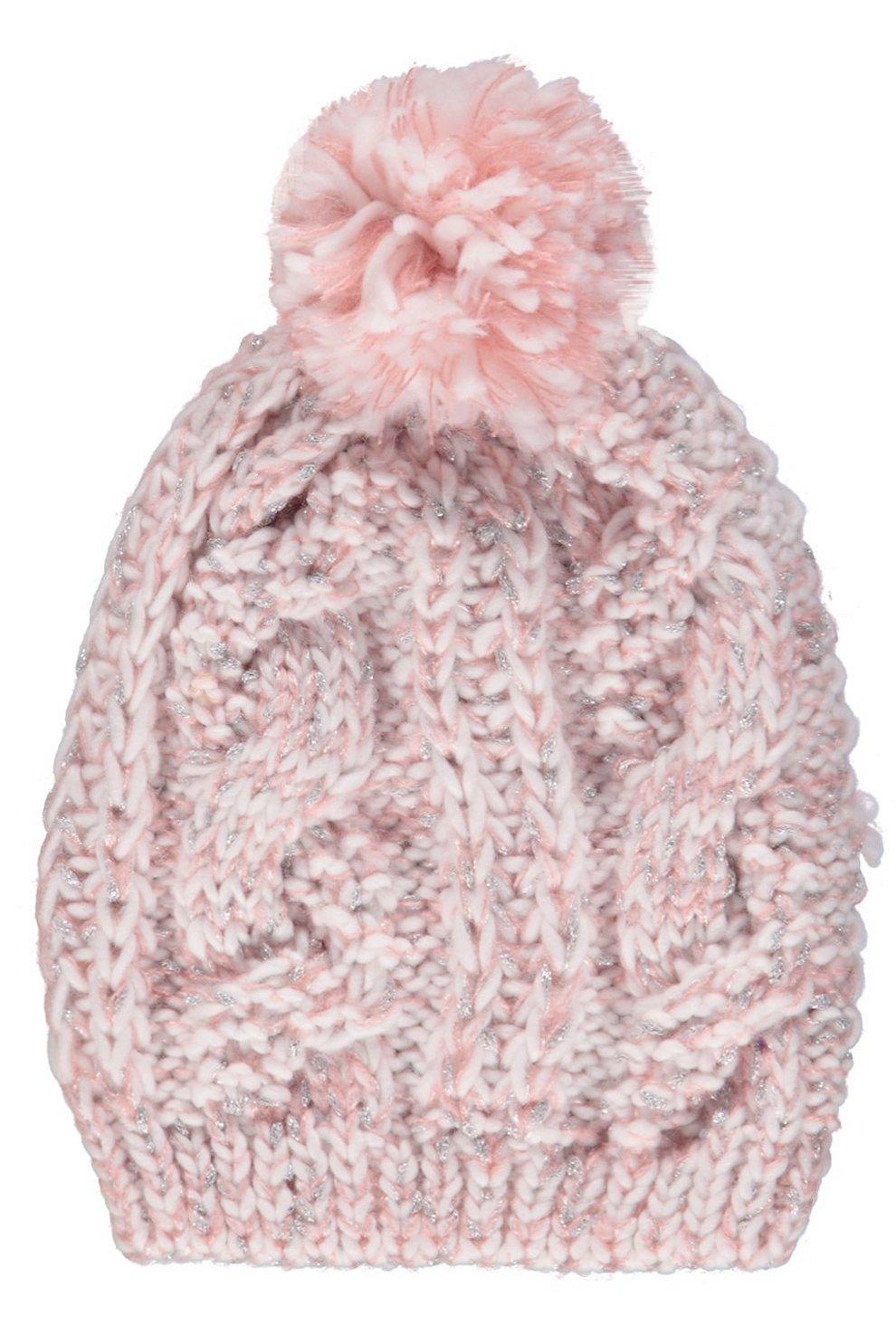 7a2342e83b0a0 Womens Blue Lily Glitter Knit Pom Beanie Hat