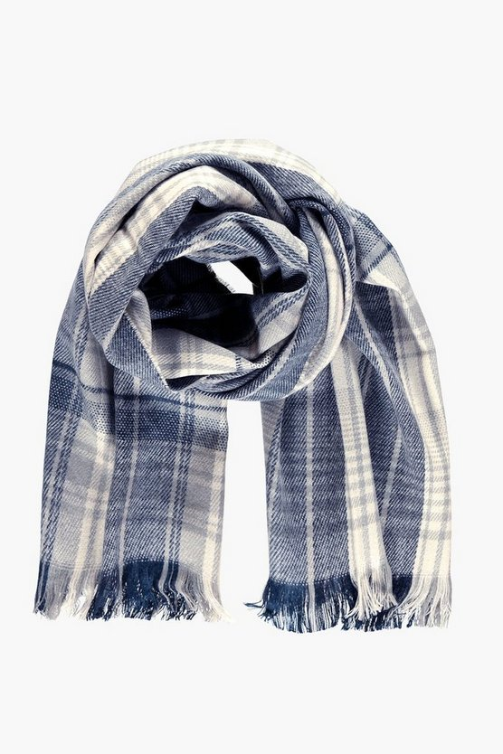 Womens Grey Layla Tartan Check Scarf