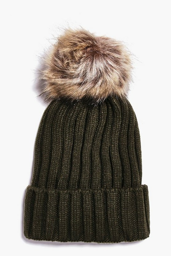 Rib Knit Faux Fur Pom Beanie Hat