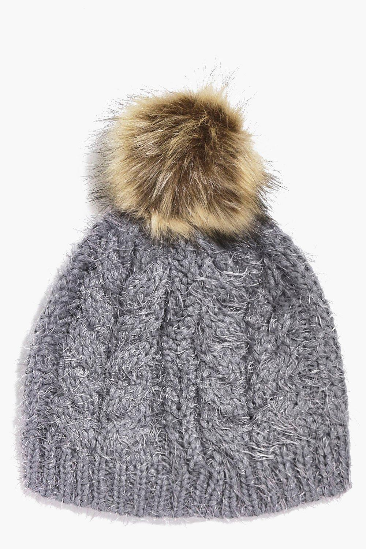 Ivy Super Soft Fluffy Faux Fur Pom Beanie Hat  cd5e1e88e8d
