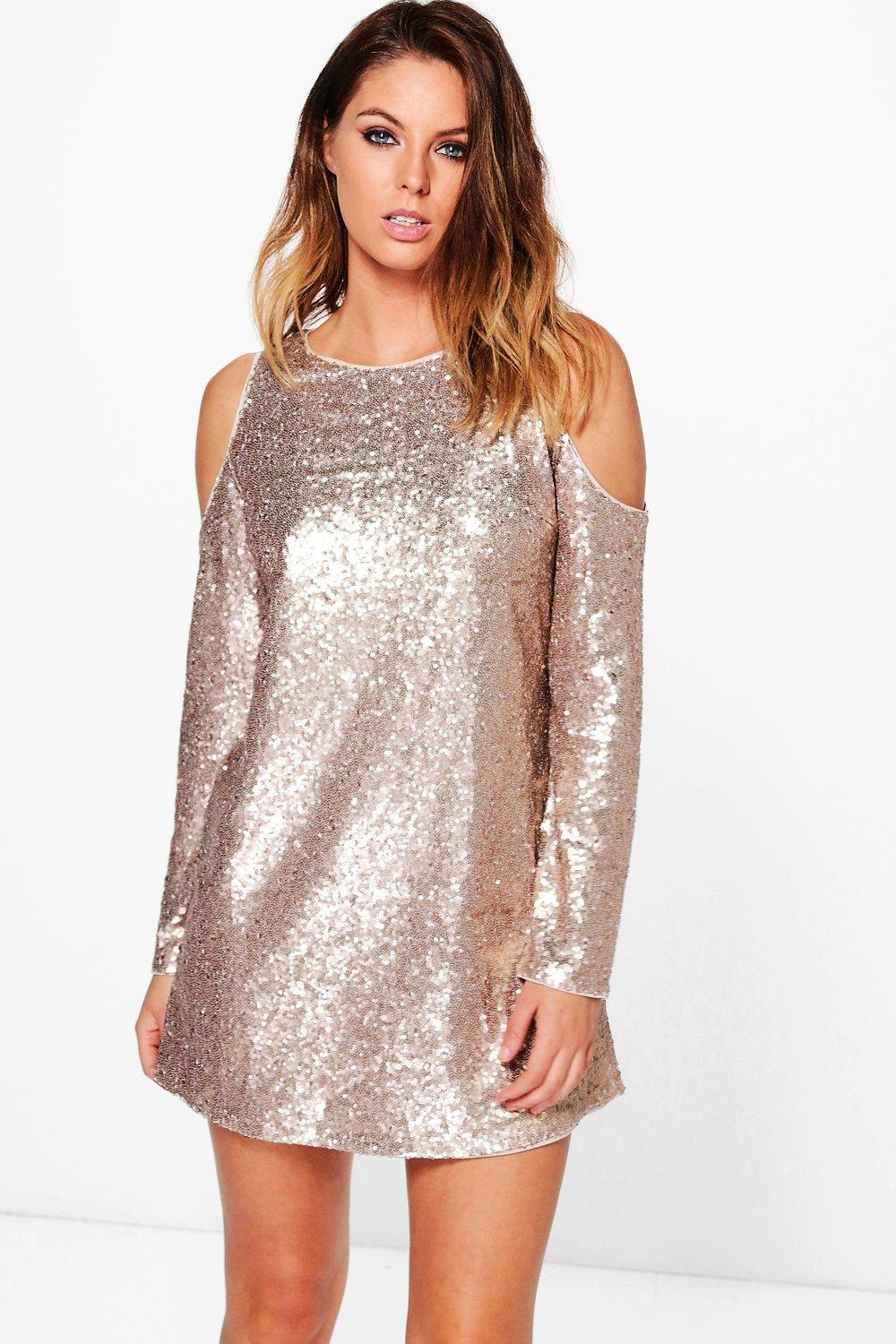 Augustina Sequin Shift Dress rose 738d4d09a