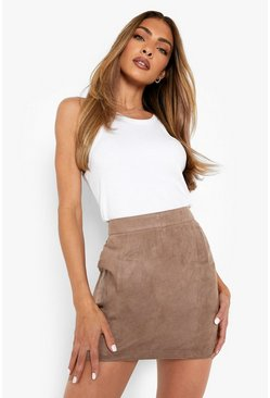 Taupe Woven Soft Suedette A Line Mini Skirt