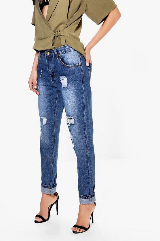 Hatty High Rise Distressed Boyfriend Jeans