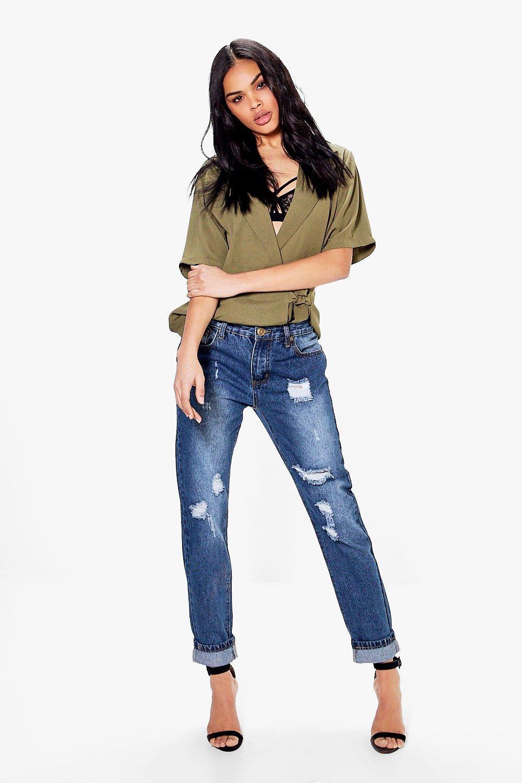 boohoo hatty jean boyfriend taille haute aspect vieilli pour femme. Black Bedroom Furniture Sets. Home Design Ideas