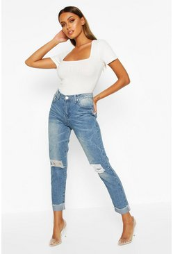 Mid blue Mid Rise Marble Wash Mom Jeans