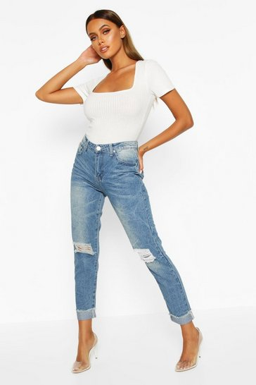 Womens Mid blue Mid Rise Marble Wash Mom Jeans