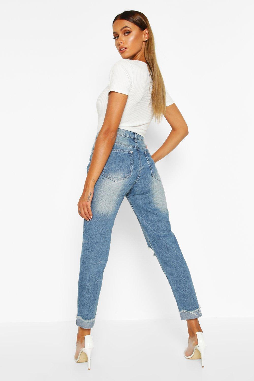 alta Azul lavado medio cintura marmolado y mom Jeans con TqZY00