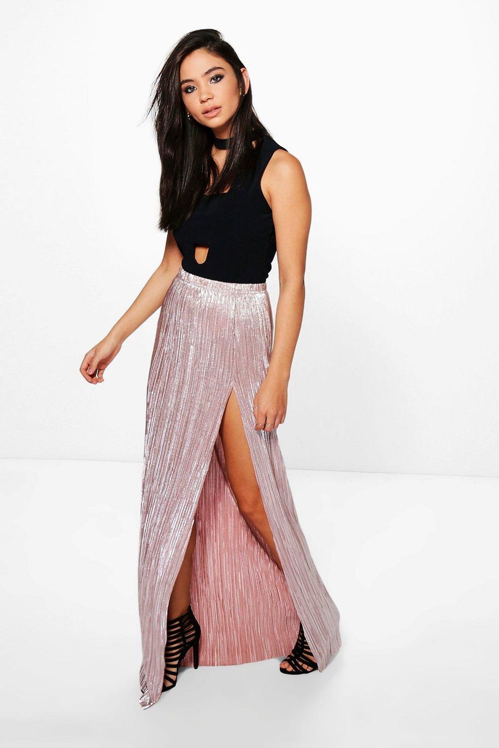 5c823936c falda larga metálica plisada con abertura en el muslo yazzmin