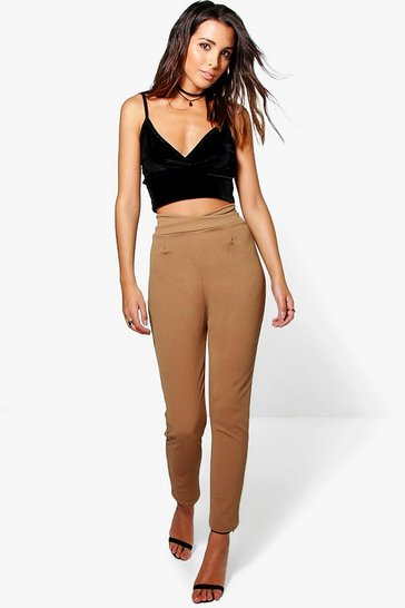 Womens Camel Basic High Waist Crepe Skinny Stretch Trousers