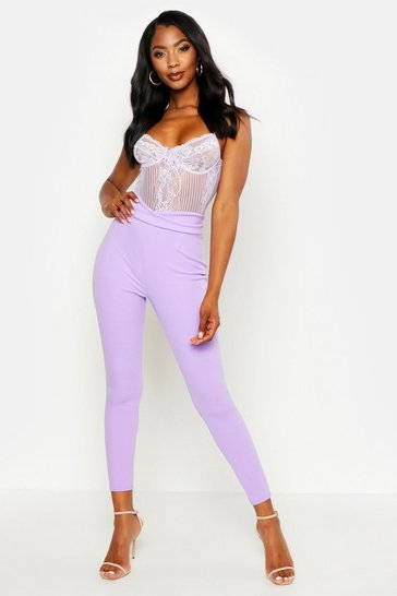 Womens Lilac Basic High Waist Crepe Skinny Stretch Trousers
