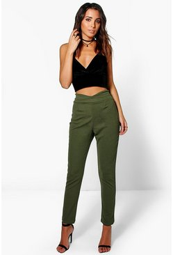 Womens Moss Basic High Waist Crepe Skinny Stretch Pants