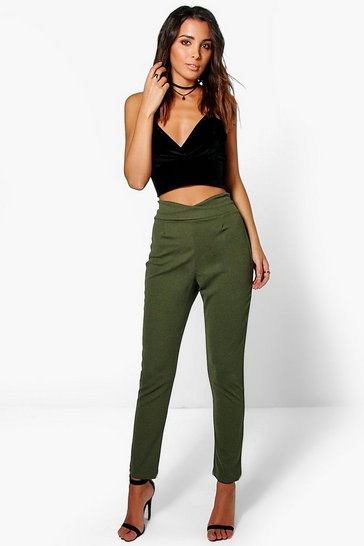 Womens Moss Basic High Waist Crepe Skinny Stretch Trousers