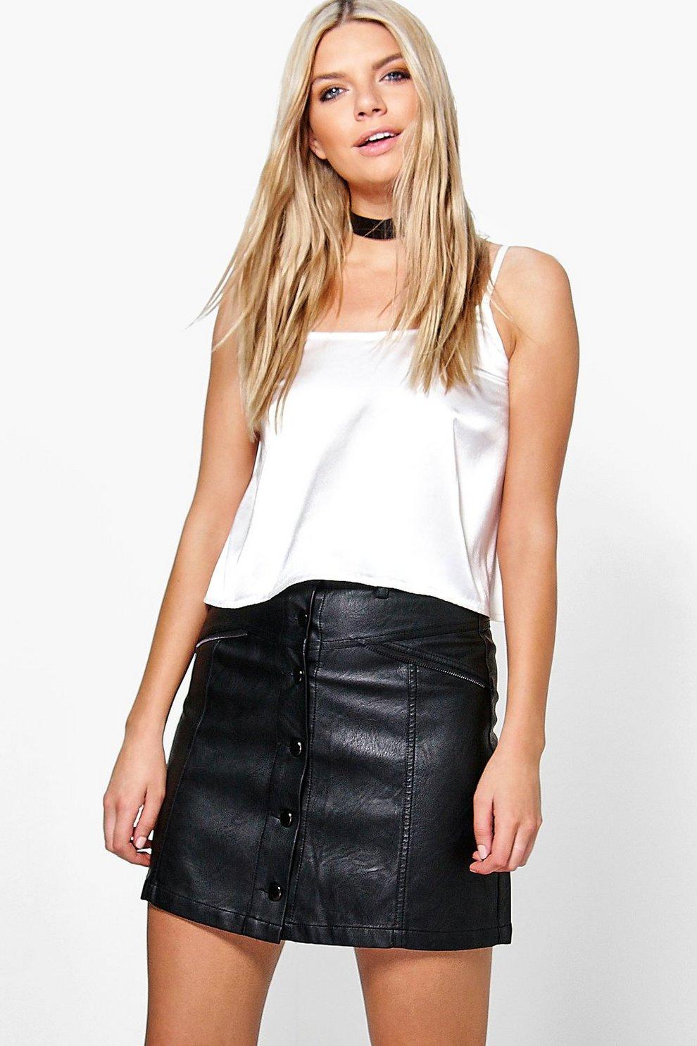 c49ddf8502 Bahira Zip Detail Leather Look A Line Mini Skirt | Boohoo