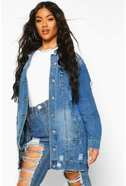 Womens Blue Longline Distressed Denim Jacket