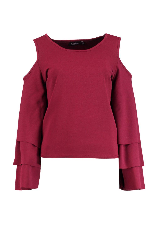 Sophia Cold Shoulder Frill Sleeve Top | Boohoo