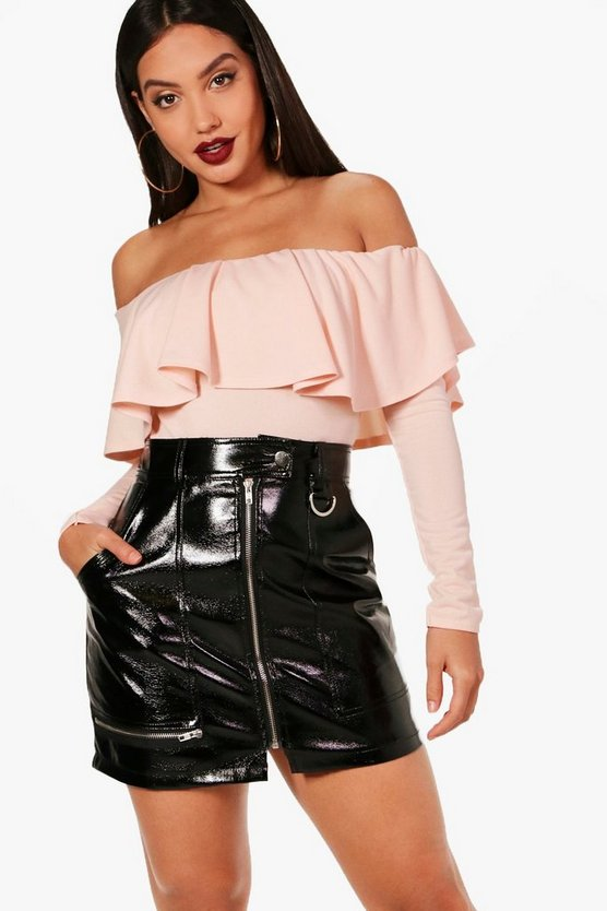 Off The Shoulder Frill Long Sleeve Bodysuit