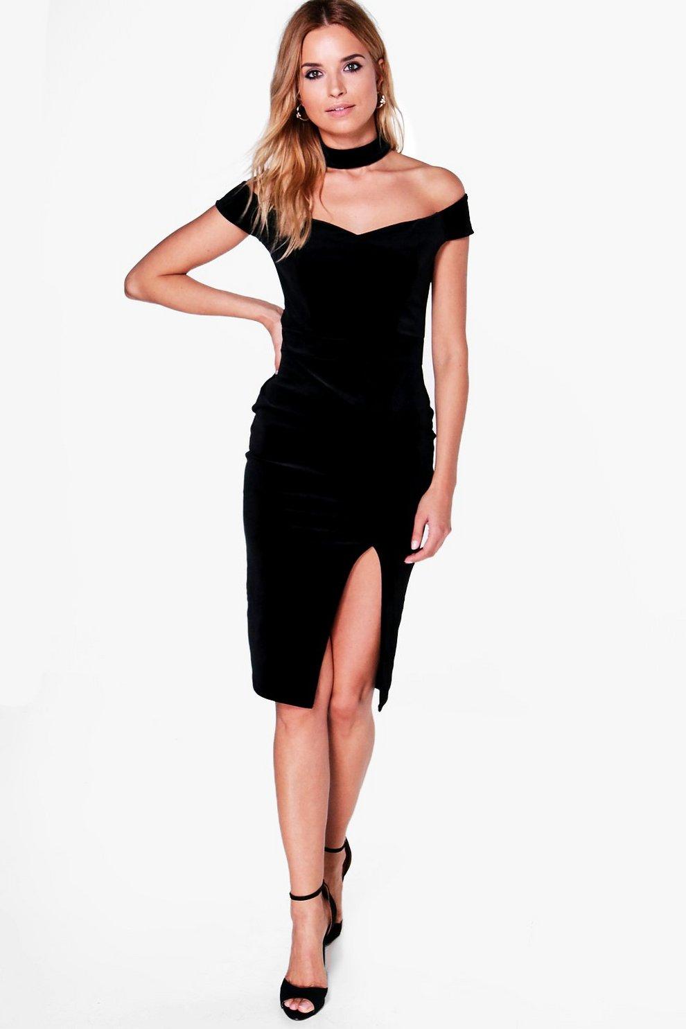 16c9c73f20789 Suki Velvet Off Shoulder Choker Midi Dress