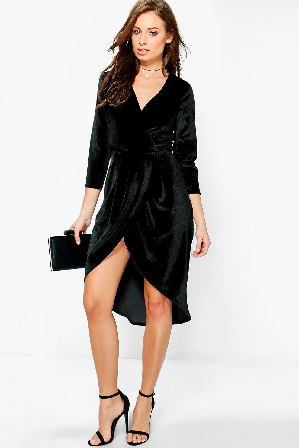 9286661eb8d Womens Black Velvet Wrap Detail Midi Dress. Hover to zoom