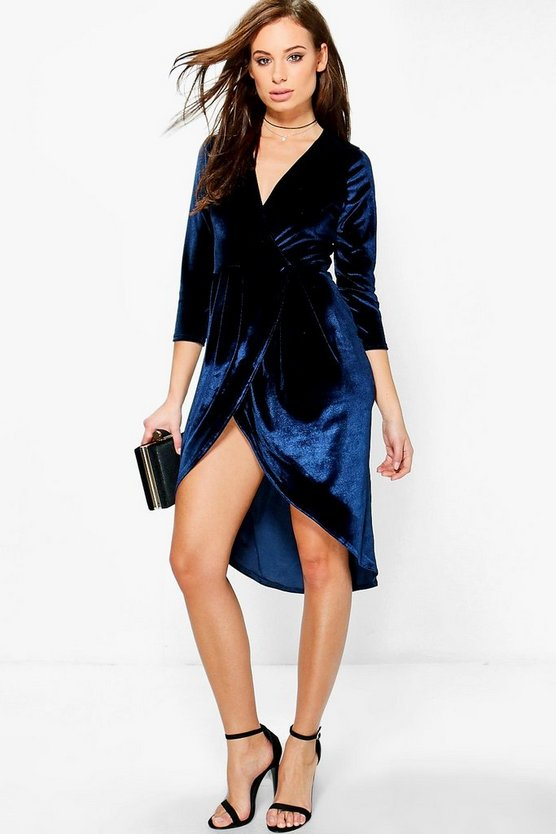 Electra Velvet Wrap Detail Midi Dress