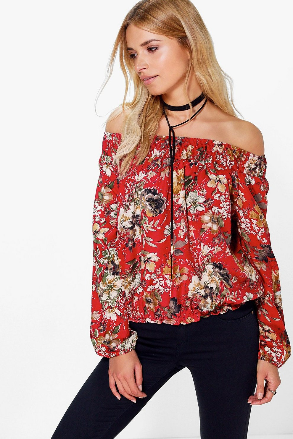 d893b5ffa12e12 Whitney Floral Printed Gypsy Off The Shoulder Top