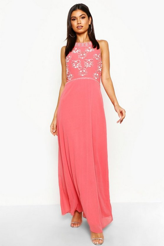 Womens Coral Boutique  Floral Top High Neck Maxi Dress