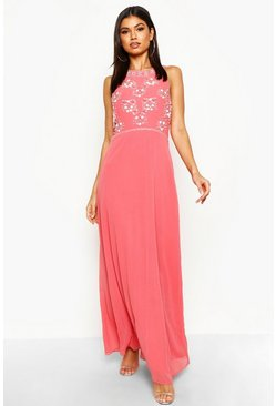 Coral Boutique  Floral Top High Neck Maxi Dress