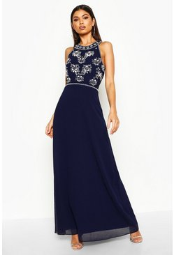 Navy Floral Embellished Maxi Bridesmaid Dress