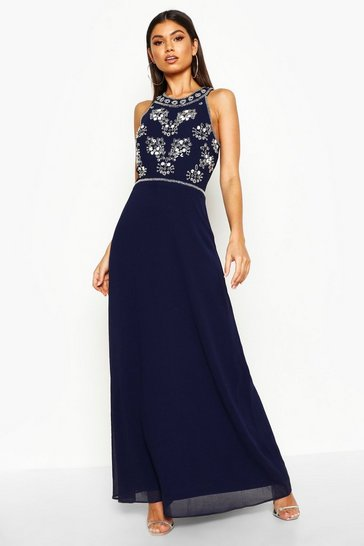 Womens Navy Boutique  Floral Top High Neck Maxi Dress