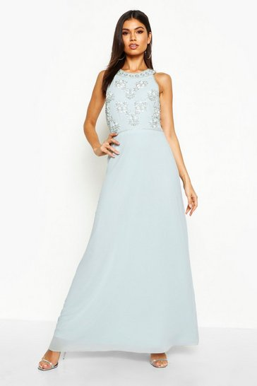 Pale blue Floral Embellished Maxi Bridesmaid Dress