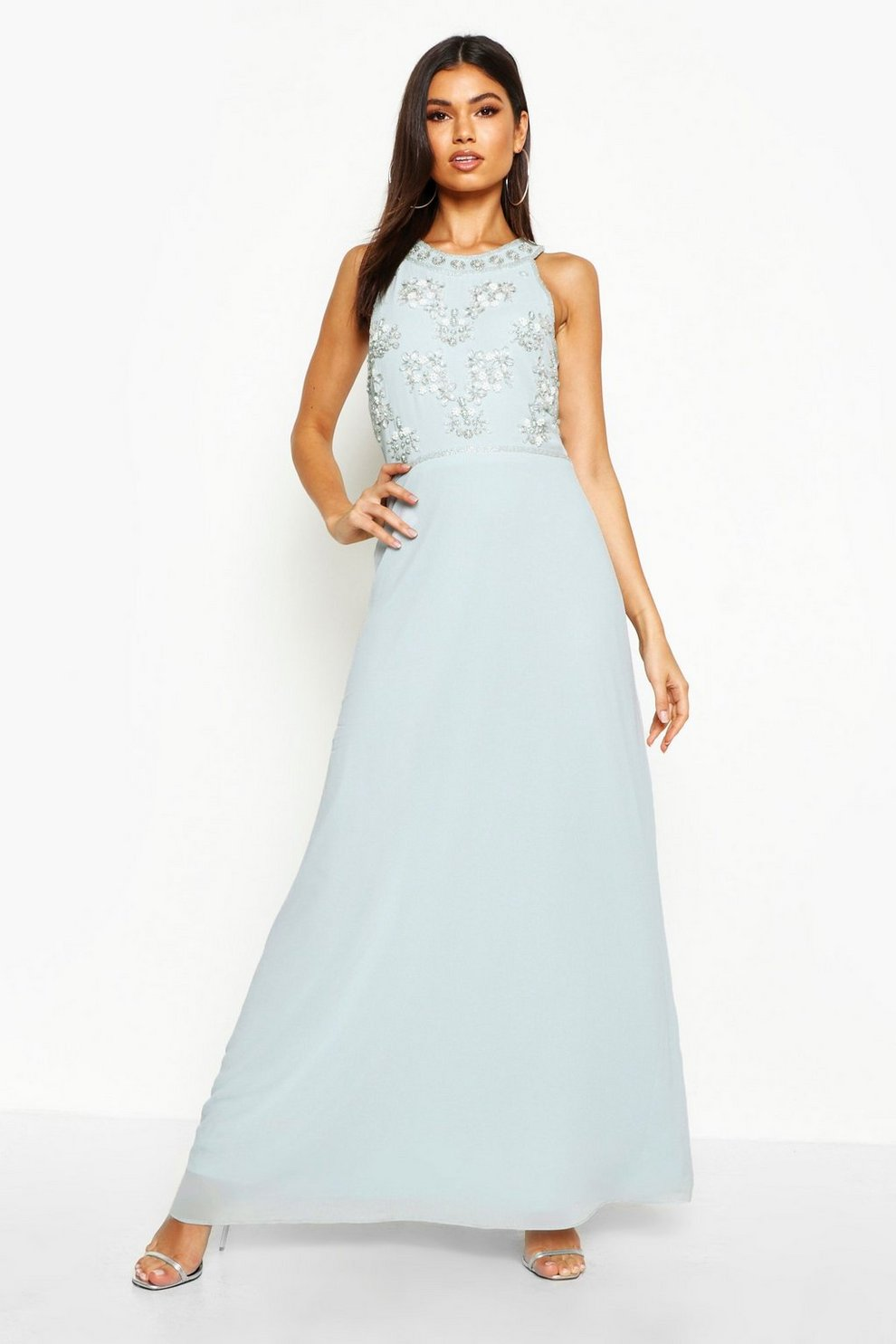 06d50760cb9 Womens Pale blue Boutique Floral Top High Neck Maxi Dress. Hover to zoom