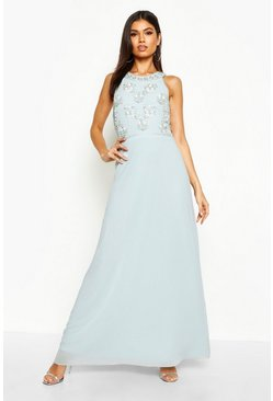 Womens Pale blue Boutique  Floral Top High Neck Maxi Dress