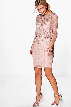 Where to Buy 1920s Dresses Boutique Marlena Beaded Batwing Dress blush $80.00 AT vintagedancer.com